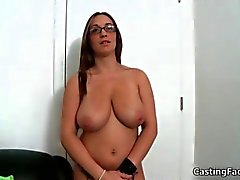 Sexy busty babe gets nude for a casting