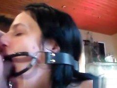 My Slave Gina gets Deepthroat training