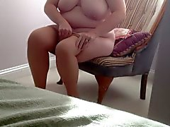 putting on her panty hose over her hairy pussy