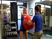 Fit blonde amateur fucked in the gym by her trainer