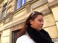 Chubby Czech chick thinkgs about fucking a stranger