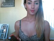 Amateur webcam babe showing her sexual goods