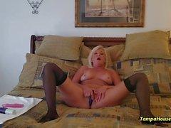 Horny mature Ms Paris Rose masturbating