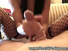 Great handjob by cute french girl in mask