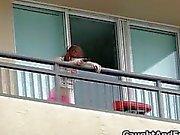 Caught big tit teen fucked on the balcony