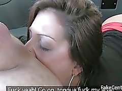 Black stockings slut ass fucked in taxi