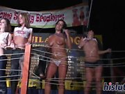 Foxy sluts get naked at the club