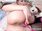 Flexible arse and pinky toy in vagina