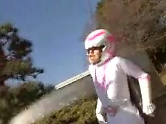 Japanese ranger girl in skin-tight superhero costume gets c