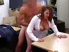 Classy chick fucks a hunky pawn shop owner