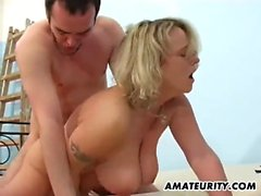 Puffy natural breasts jump around in a hardcore fucking