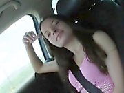 Horny brunette teen girl Anita B drilled in the backseat