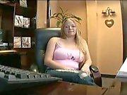 Busty blonde babe amateur fucking video fun