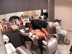 Sultry Asian babe invites her hairdresser to satisfy her se