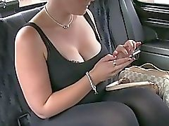 Chubby amateur gets a creampie in a taxi