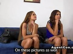 Two girlfriends in threesome casting