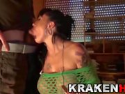 Hot brunette with big tits twerking and blowjob
