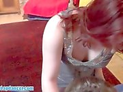 Chubby teen lapdances and plays with a guy
