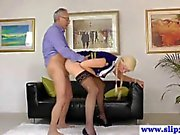 Teen glamour amateur British babe sucking an old man