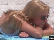 Beautiful girl gets naked on the beach