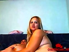 Giant blonde BBW gives a webcam Handjob