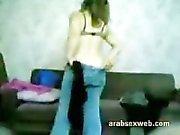 Syrian Arabian Muslim Girl sucking on a small Five Inch Asian Arabian Penis