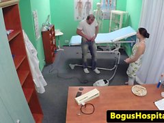 Doctor fucks cleaning eurobabe in his office