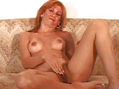 Horny mature plays with her bush then gets fucked hard