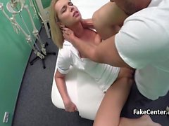 Muscular dude fucking hot nurse in hospital