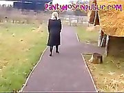 BBW Pantyhose Housewife Gets Followed While Out For A Walk In the
