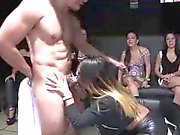 Muscled stripper gets blowjob from CFNM babe at party