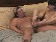 Slutty brunette gives ponytail dude an expert footjob