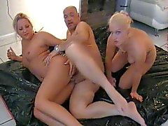 threesome with two hot blonde tattoo girls - german - csm