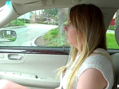 Alex Blake flashes tits for a lift home