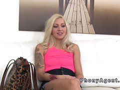 Slim tattooed blonde sucks huge cock in casting