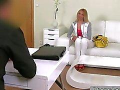 Slim blonde milf babe fucking a fake agent