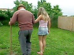 Nasty old man having outdoor sex with horny teen