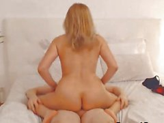 Blonde babe riding cock on cam