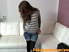 FakeAgent Beautiful brunette babe fucks in casting interview