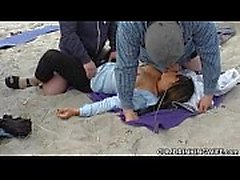 Creampie gangbangs on public beaches