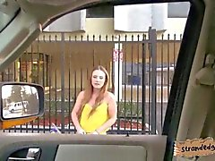 Big titted teen rides a car then a cock