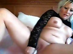 Sensual sweet MILF Lillianna with huge boobs masturbates