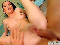 She speads those thick cheeks of her so that a big cock and slide right into her tight asshole. She gets assfucked before swallowing down a big load of cum