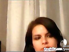 Tied Zuzinka fucks her pussy with glass dildo