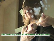 Leah naughty pregnant busty blonde playing with tits and milking