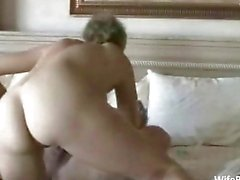 Older amateur couple enjoys sex at home