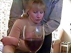 Drunk blonde gets caught on spycam giving blowjob