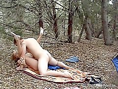 Tania fucks her boyfriend Paul in the forest