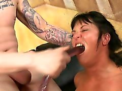 Brunette Slut With Pig Tails Getting Her Face Destroyed