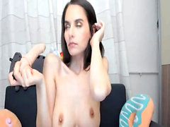 Amateur Petite Brunette Fingering And Used Dildo
